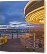 Moving Carousel  Wood Print