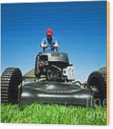 Mowing The Lawn Wood Print