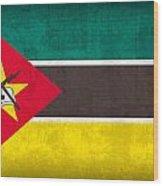 Mozambique Flag Vintage Distressed Finish Wood Print