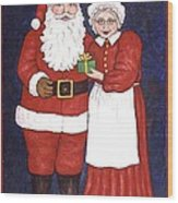 Mr And Mrs Claus Wood Print