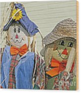 Mr And Mrs Scarecrow Wood Print