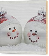 Mr. And Mrs. Snowman Wood Print