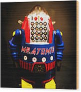 Mr. Atomic Tin Robot Wood Print by Edward Fielding