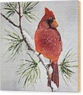 Mr Cardinal Wood Print by Bobbi Price