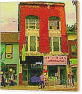 Mr Jordan Mediterranean Food Cafe Cabbagetown Restaurants Toronto Street Scene Paintings C Spandau Wood Print by Carole Spandau