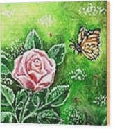 Ms. Monarch And Her Ladybug Friends Wood Print