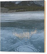 Mt. Abraham And Ice On Abraham Lake Wood Print