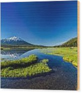 Mt. Bachelor Reflection And Forest Wood Print