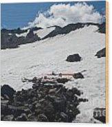 Mt. Bachelor Summit With Skis Wood Print
