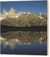 Mt Fitzroy At Dawn Patagonia Wood Print