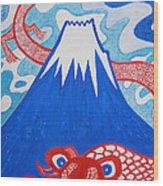 Mt. Fuji And A Red Dragon Wood Print