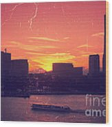 Mt Fuji At Sunset Over Yokohama Bay Wood Print by Beverly Claire Kaiya