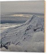 Mt. Hood Between Clouds Wood Print
