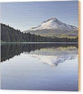 Mt Hood Reflection On Trillium Lake Panorama Wood Print