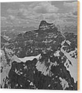 T-703512-bw-mt. Hungabee From Summit Of Mt. Lefroy-bw Wood Print