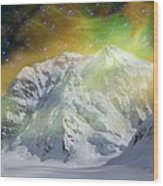 Mt. Hunter Aurora # Da 129 Wood Print