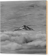 105355-mt. Jefferson Above The Clouds,or,bw Wood Print