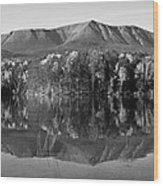 Mt Katahdin Black And White Wood Print