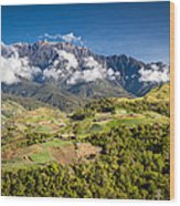 Mt. Kinabalu - The Highest Mountain In Borneo Wood Print