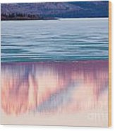 Mt Laurier Mirrored On Lake Laberge Yukon Canada Wood Print