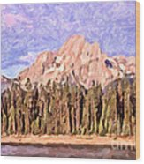 Mt Moran From Colter Bay Wood Print