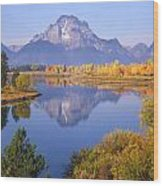 1m9234-mt. Moran Reflection, Wy Wood Print