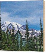 Mt Rainier And Paradise Inn Wood Print