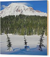 Mt Rainier And Three Trees Wood Print
