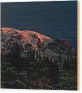Mt Rainier At Dawn Wood Print