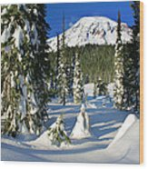 Mt Rainier At Reflection Lakes In Winter Wood Print