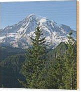 Mt. Rainier In Summer Wood Print