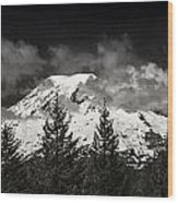 Mt Rainier Panorama B W Wood Print