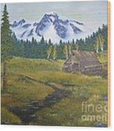 Mt Rainier Ranch Wood Print