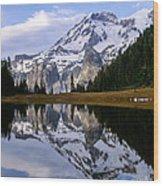 Mt. Rainier On Aurora Lake Wood Print