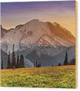 Mt. Rainier Sunset 2 Wood Print