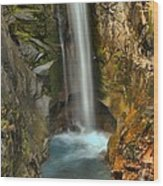 Mt Rainier Waterfall Wood Print