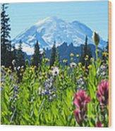 Mt. Rainier Wildflowers Wood Print