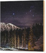 Mt. Rose Highway And Ski Resort At Night Wood Print