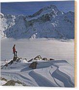 Mt Sefton Climber At Mueller Glacier Wood Print