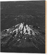 Mt Shasta Black And White Wood Print
