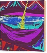Mt. Shasta Moonlight Wood Print