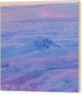 Above The Clouds At Sunset Wood Print