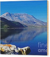 Mt St Helens Reflecting Into Spirit Lake   Wood Print