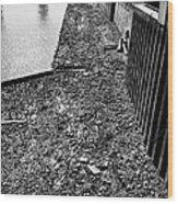 mud banks of the river thames and reinforced pilings at southwark London England UK Wood Print