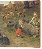 Mud Pies Wood Print by Ludwig Knaus
