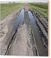 Muddy Country Road Wood Print