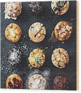 Muffins With Nuts, Fruits And Chocolate Wood Print
