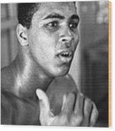 Muhammad Ali Intently Wood Print