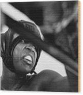 Muhammad Ali Looking Sideway Through Rope Wood Print