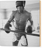 Muhammad Ali Training Inside Ring Wood Print